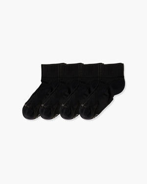 Womens quarter sock, 4 pack in black.