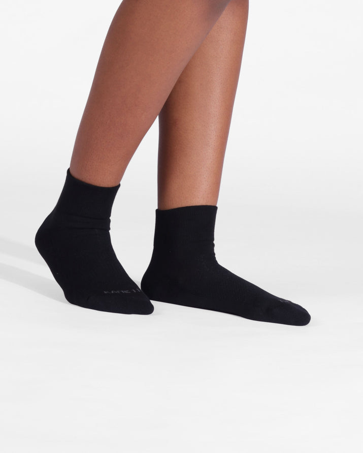 Womens quarter sock in black on feet
