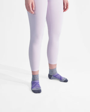 womens quarter sock in heather grey with purple style