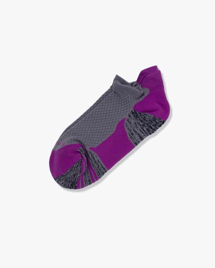 womens ankle sock in orchid with grey laid flat
