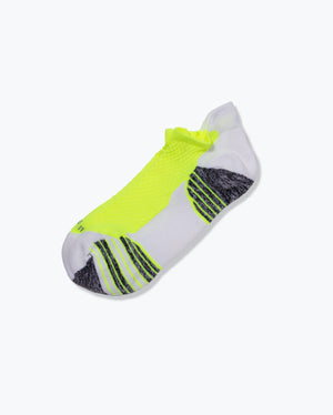 womens ankle sock in white with neon yellow laid flat
