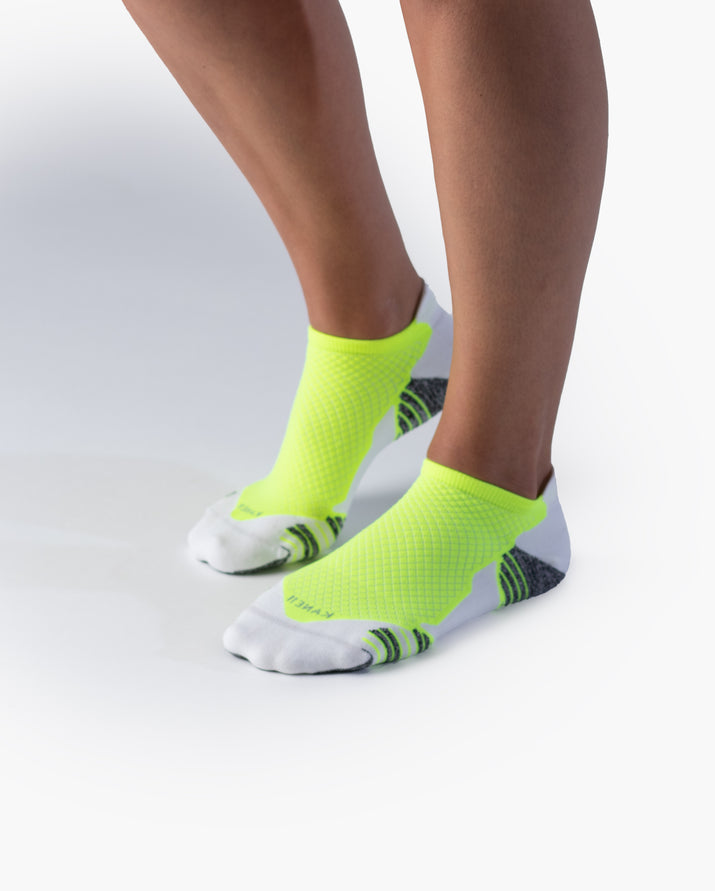 womens ankle sock in white with neon yellow style