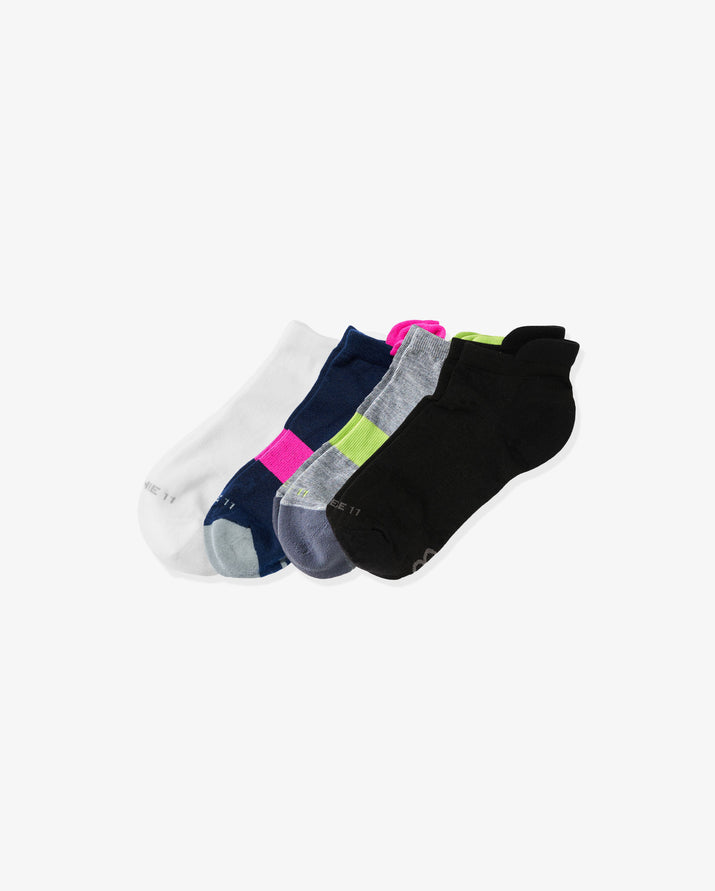 womens ankle sock 4 pack. Colors: 1 white, 1 navy with neon pink, 1 heather grey with lime, 1 black.