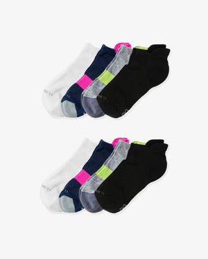 womens ankle sock 8 pack. Colors: 2 white, 2 navy with neon pink, 2 heather grey with lime, 2 black.