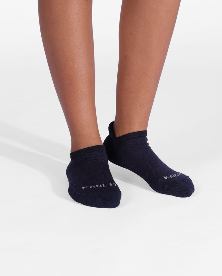 Womens ankle sock in black on feet