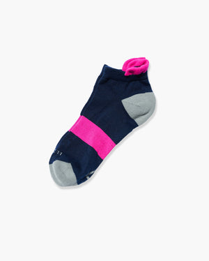 womens ankle sock in navy with neon pink laid flat