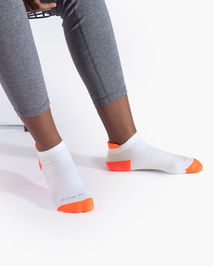 womens ankle sock in white with neon orange style