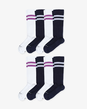 Womens 8 pack of over the calf socks. Four pairs of each: white with purple, navy with white.