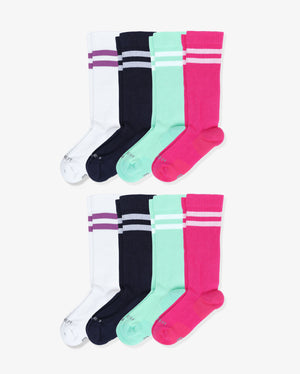 Womens 8 pack of over the calf socks. Two pairs of each: white with purple, navy with white, mint green with white, pink with white.