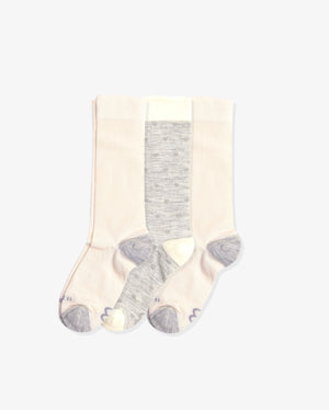 Womens 3 pack of crew socks. Two pairs of solid ivory with heather and One pair of hearts with heather grey.