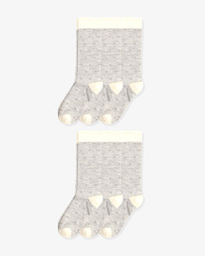 Womens 6 pack of crew socks. Six pairs of hearts with heather grey.