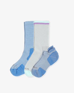 Women's explorer mix 3 pack. One of each: Keira grey, Jane baby blue, Frances baby blue.