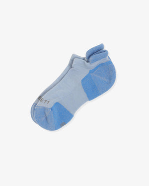 Womens ankle sock in baby blue, laid flat