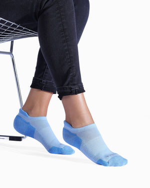 Womens bably blue sock, ankle height, lifestyle image.