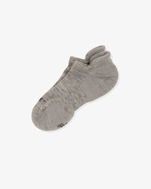 Womens ankle sock in heather grey, laid flat
