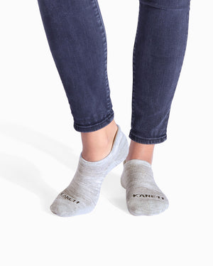 Womens heather grey sock, ankle height, lifestyle image.