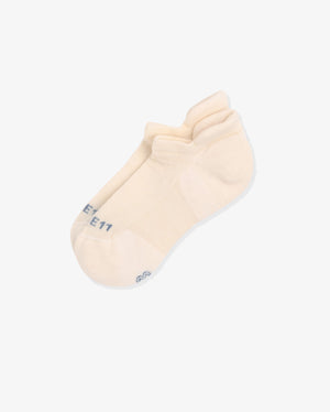 Womens ankle sock in ivory, laid flat