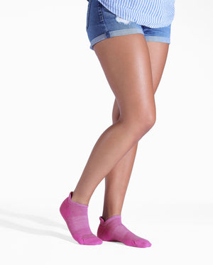 Womens violet sock, ankle height, lifestyle image.