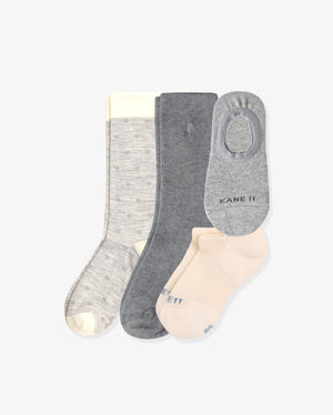 Women's homebody mix 4 pack. One of each: Ellis grey with hearts, Ruby grey, Laylo heather grey, Frances ivory.