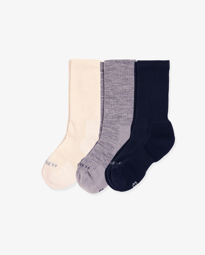 Womens 3 pack of crew socks. One pair of each colorway: ivory, heather grey, navy.