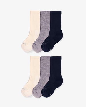 Womens 6 pack of crew socks. Two pairs of each colorway: ivory, heather grey, navy.