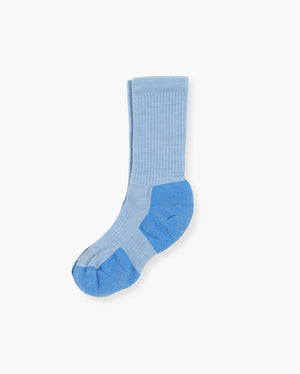 womens crew sock in baby blue, laid flat