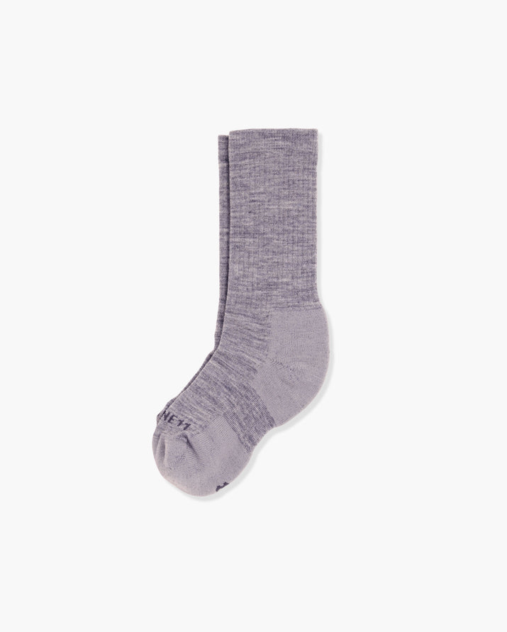 womens crew sock in heather grey, laid flat