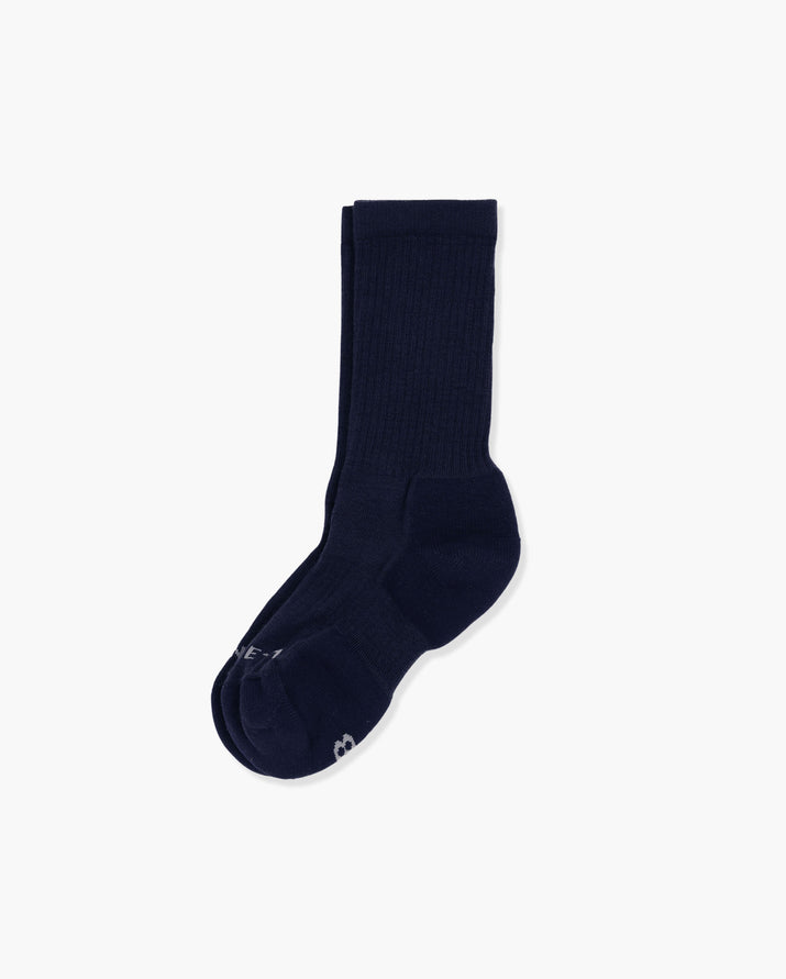 womens crew sock in navy, laid flat