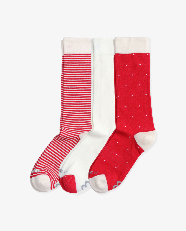 Womens 3 pack of crew socks. One pair of each colorway: Ivory stripe, Ivory with red, Ivory Dot.