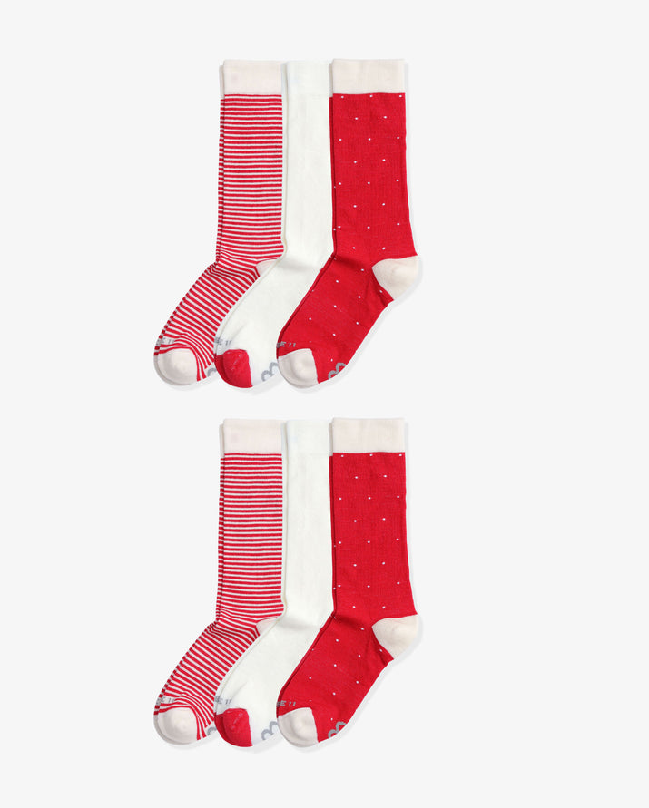 Womens 6 pack of crew socks. Two pairs of each colorway: Ivory stripe, Ivory with red, Ivory Dot.