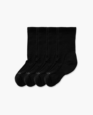 womens crew sock in a 4 black pack