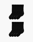 womens crew sock in a 8 black pack