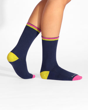 Womens navy sock, crew height, lifestyle image.