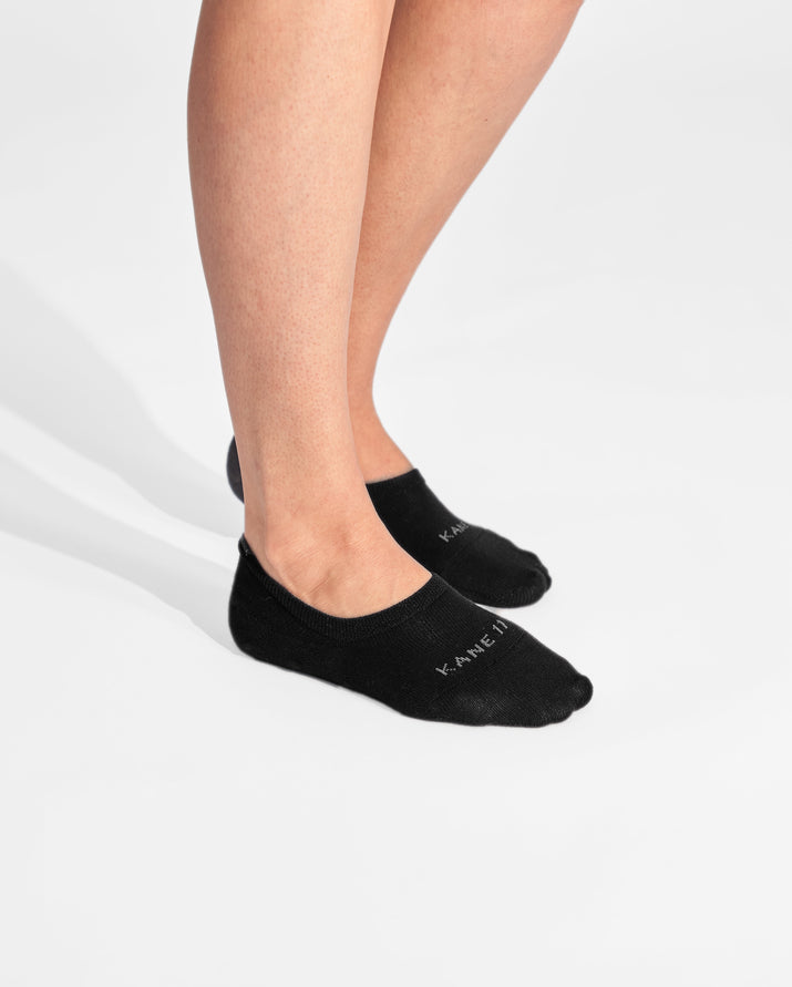 womens no-shows sock in black on feet