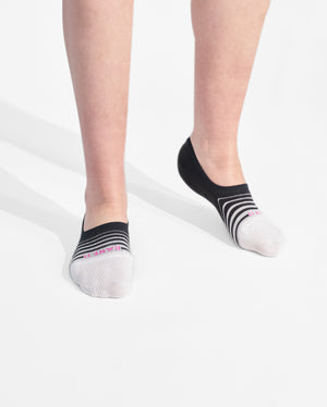 womens no-shows sock in black with white on feet