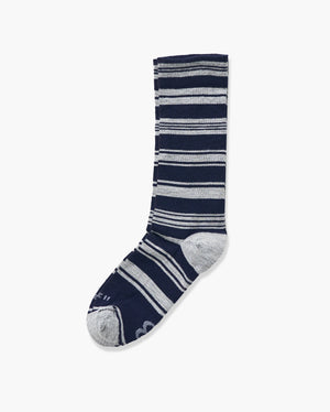 womens crew sock in navy laid flat