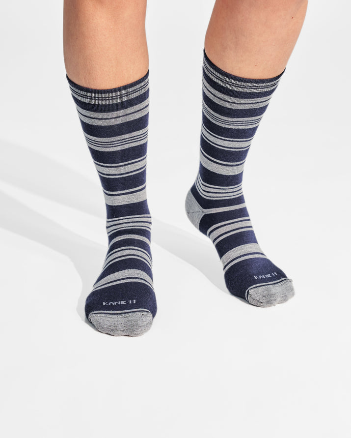womens crew sock in navy on feet