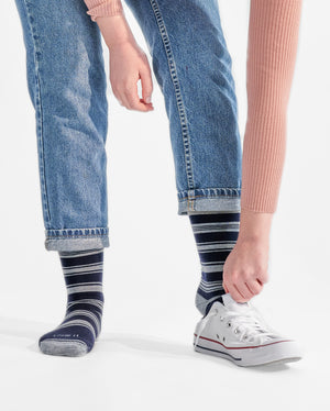 womens crew sock in navy with grey stripes, lifestyle