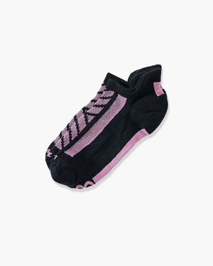 womens ankle sock in black with pink laid flat