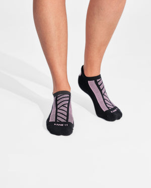 womens ankle sock in black with pink on feet