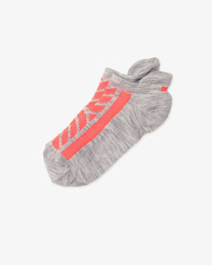 womens ankle sock in grey with neon orange laid flat