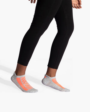 womens ankle sock in grey with neon orange style