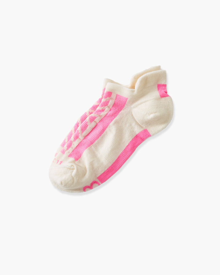 womens ankle sock in ivory with pink laid flat