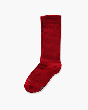 womens crew sock in dark red laid flat