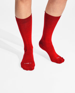 womens crew sock in dark red on feet