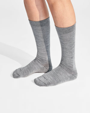 womens crew sock in heather grey on feet