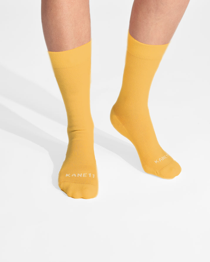womens crew sock in yellow feet