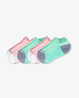 Womens 4 pack of ankle socks. Two pairs of each: pink with ivory, mint with grey.