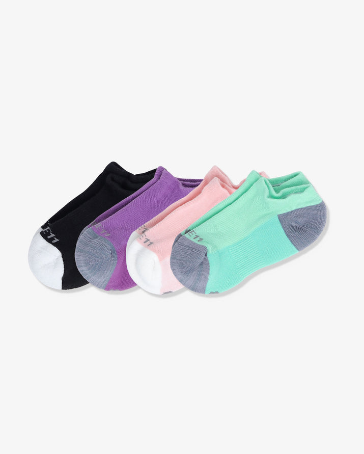 Womens 4 pack of ankle socks. One pair of each: pink with ivory, mint with grey, black with ivory, purple with grey.