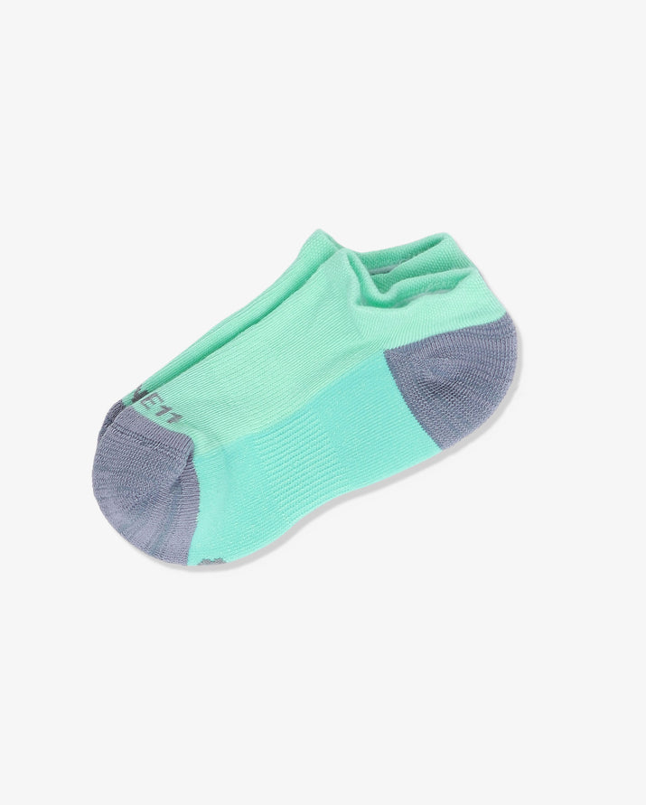 Womens ankle sock in mint green with grey heel and toe caps, laid flat.
